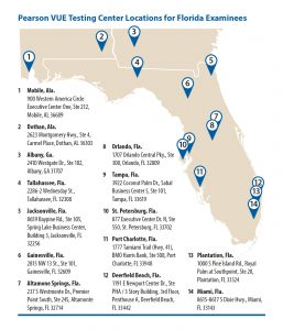 Map of Pearson VUE locations for Florida examinees