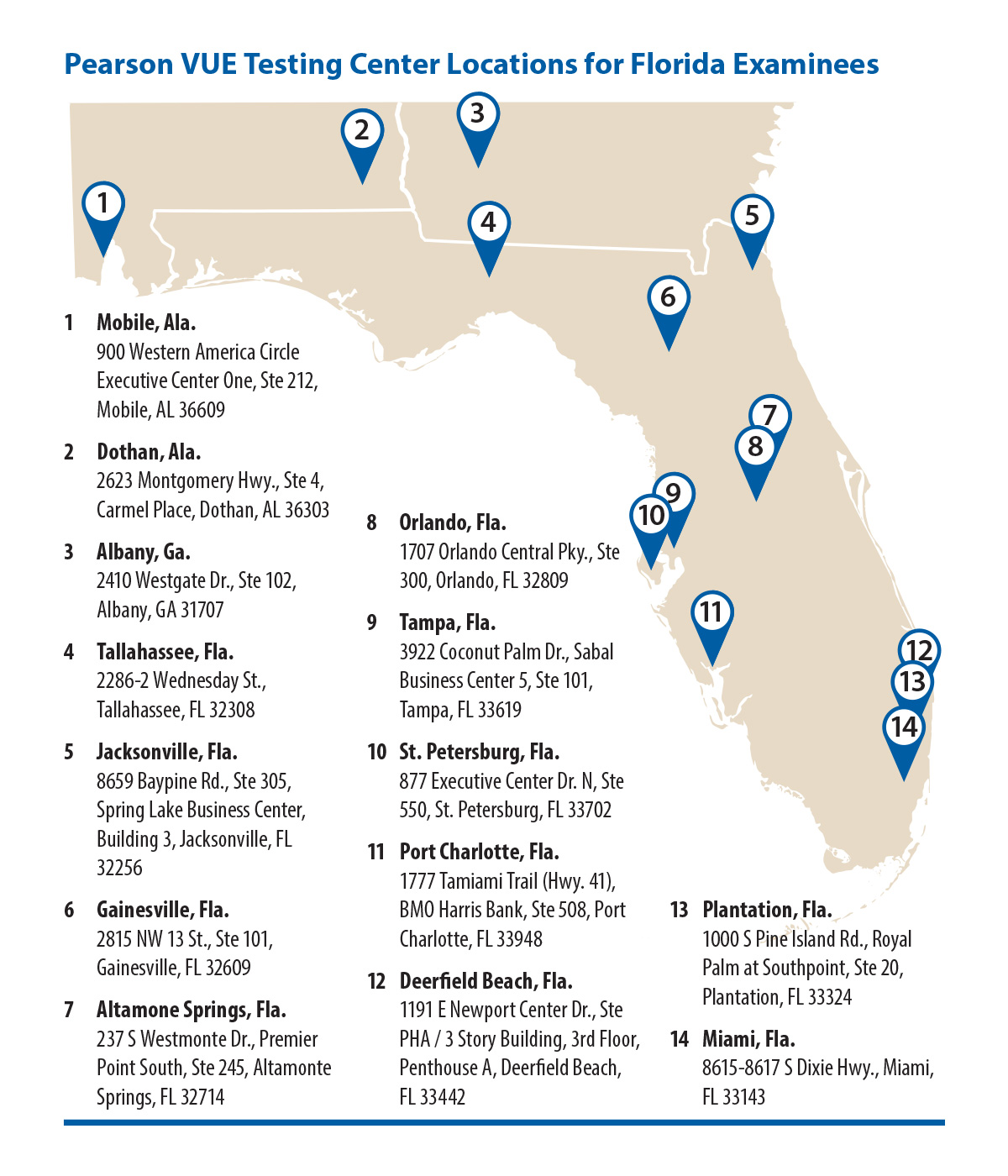 Pearson VUE has 14 testing locations in or near Florida