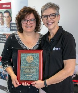 Dr. Michelle Rambo-Roddenberry, PE, (left), and FBPE Executive Director Zana Raybon