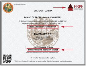 Sample Professional Engineer license