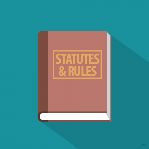 "Illustration of a book titled ""Statutes and Rules"""