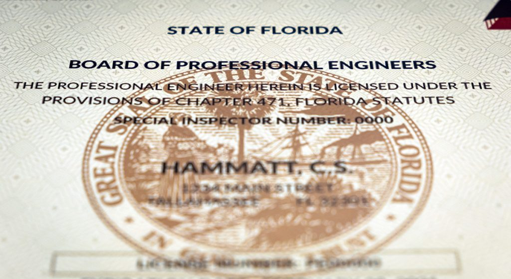 Sample of a Florida Professional Engineer license