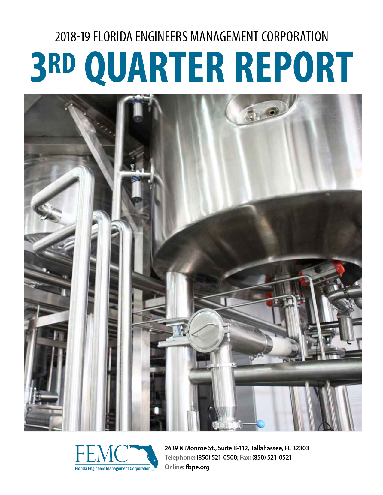 Cover of the 2018-19 Florida Engineers Management 3rd Quarter Report, showing a chemical engineering-related photo of silver pipes and tanks