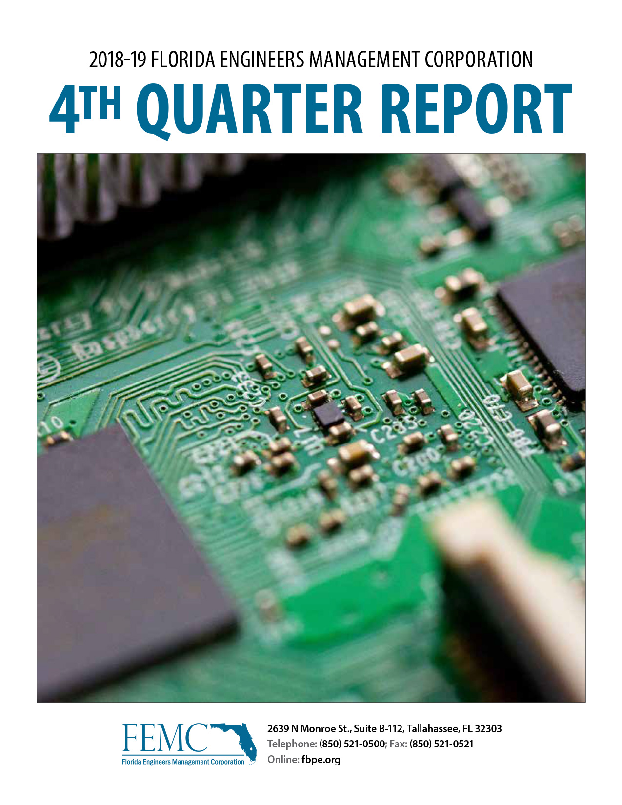 Cover of the 2018-19 Florida Engineers Management 4th Quarter Report, showing a circuit board