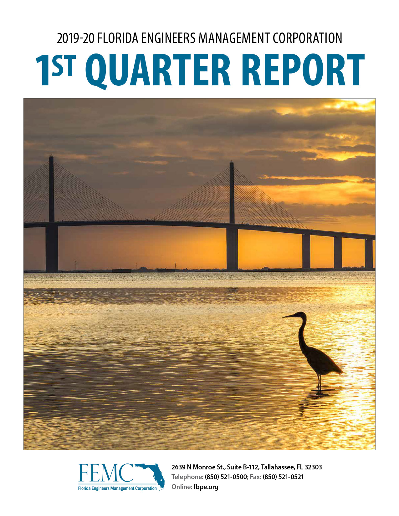 Cover of the 2019-20 Florida Engineers Management Corporation 1st Quarter Report