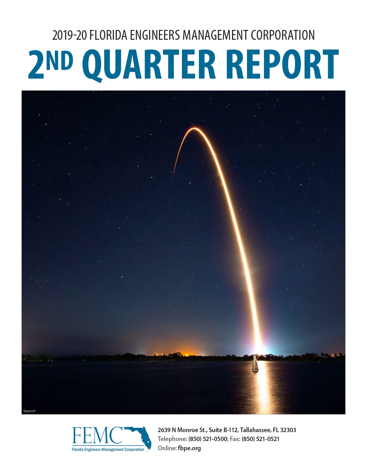Cover of the 2019-20 Florida Engineers Management Corporation 2nd Quarter Report