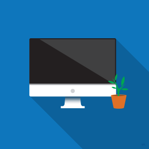 Illustration of working remotely, with a desktop computer and a potted plant