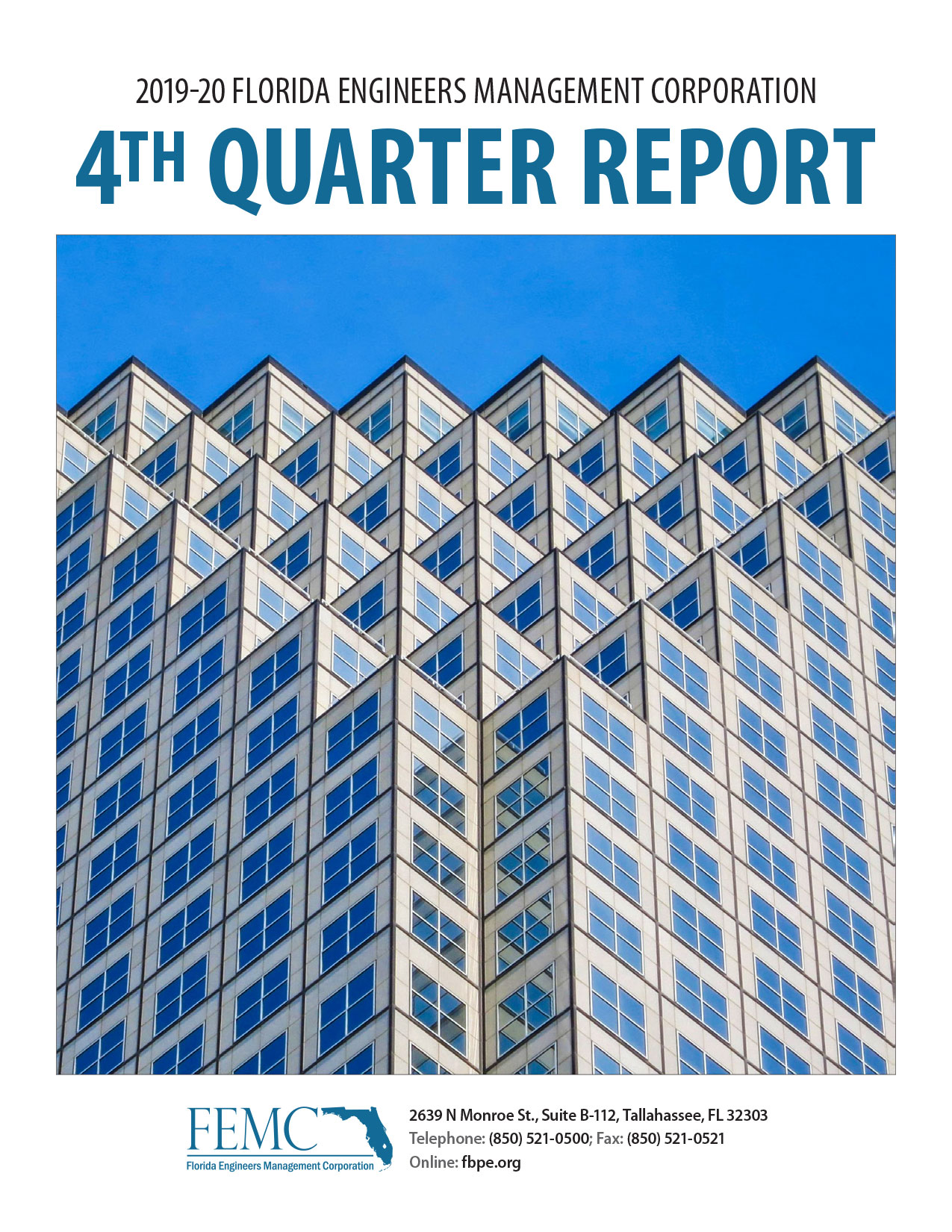 Cover of the 2019-20 Florida Engineers Management Corporation 4th Quarter Report
