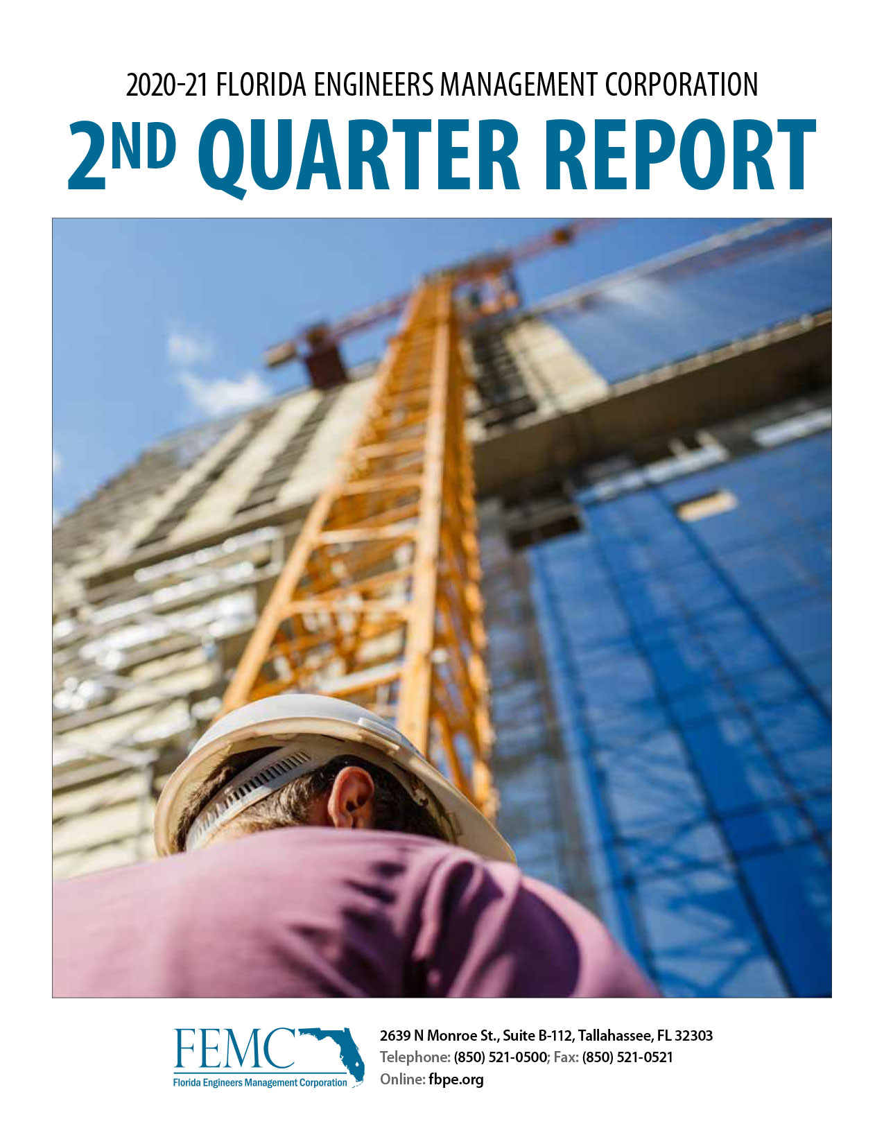 Cover of the 2020-21 Florida Engineers Management Corporation 2nd Quarter Report