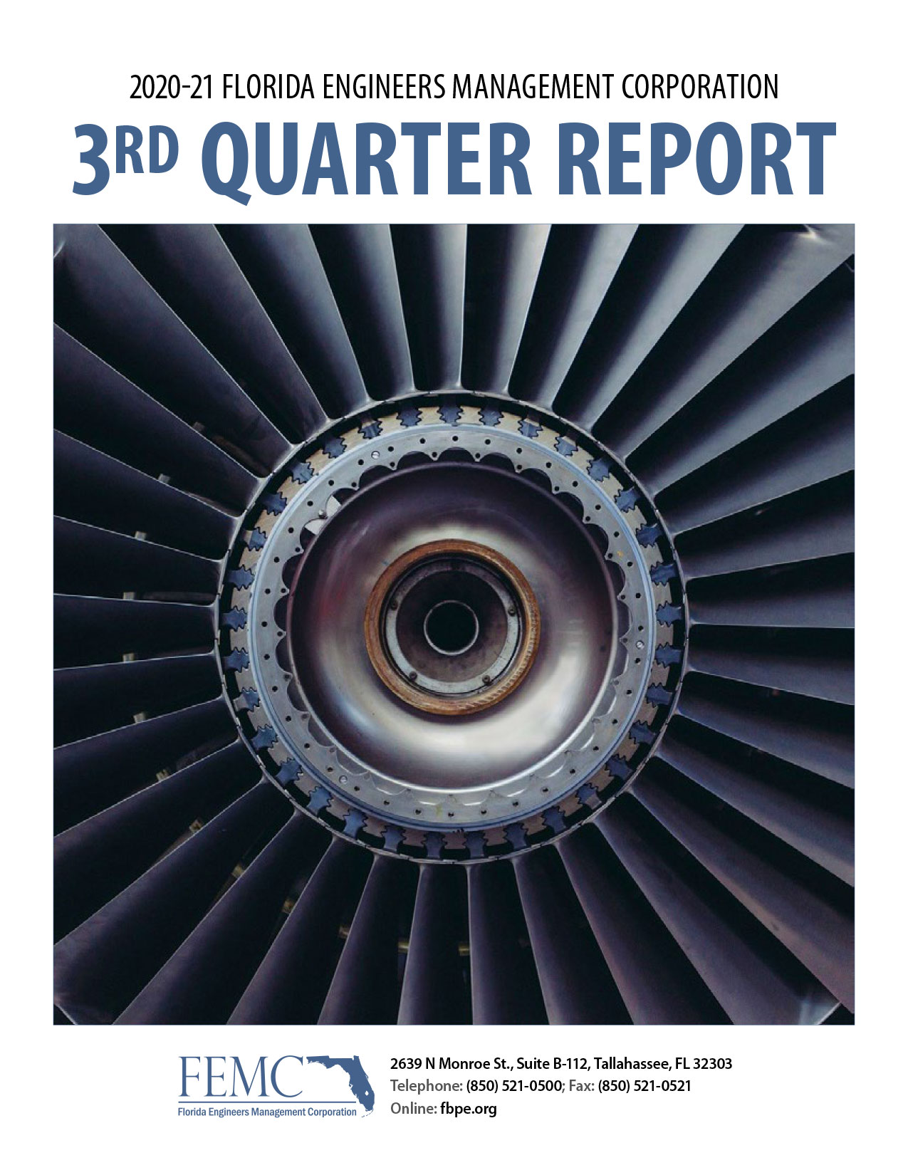 Cover of the 2020-21 Florida Engineers Management Corporation 3rd Quarter Report