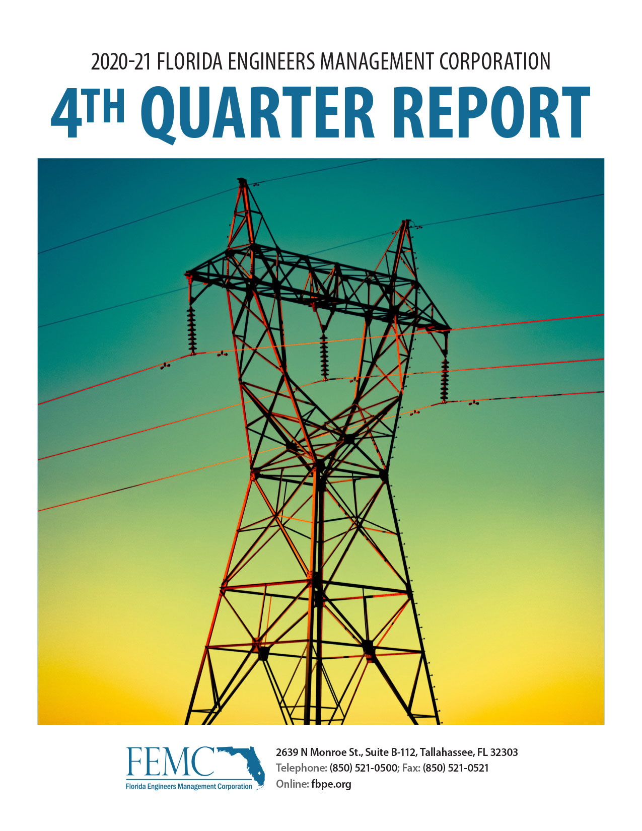 The cover of the 2020-21 Florida Engineers Management Corporation 4th Quarter Report